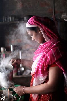 Preparing Masala tea, India