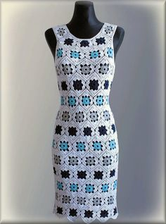 Handmade Vintage-Inspired 1970s Crochet Granny Squares Summer Short Dress - Made to Order