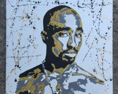 18x24 Custom hand painted and glittered Tupac canvas wall art