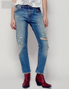NEW Free People X Levi's precita 501 CT Jean distressed boyfriend 25 $98