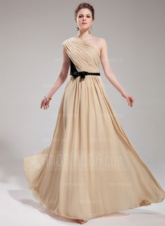 A-Line/Princess One-Shoulder Floor-Length Chiffon Charmeuse Evening Dress With Ruffle Sash Bow(s) (017019730)