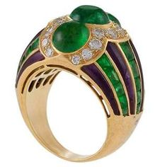 View this item and discover similar for sale at - A French made Century polished 18 karat gold ring with emerald, diamond and amethyst by Bulgari. The ring has 3 cabochon emeralds with an approximate High Jewelry, Metal Jewelry, Gold Jewelry, Jewelry Rings, Lotus Jewelry, Jewlery, Bulgari Jewelry, Emerald Diamond, Silver Diamonds