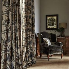 Kernow Printed Fabric A distinctive silk viscose fabric with a soft shimmer to its surface and delicate pattern of scattered ferns in charcoal on an antique gold ground. It is designed by Rosie Mennen and digitally printed to capture the finesse of her original painting.