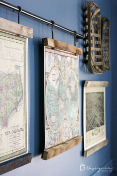 World map art collage on canvas art collages collage and canvases omg this diy map art is amazing totally excited about how to make picture frames like this and i love how they are hanging from pipe gumiabroncs Images