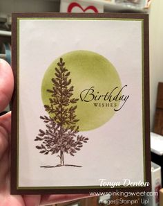 Happy Birthday Card, Lovely As a Tree, hand stamped, Happy Birthday Cards, Birthday Wishes, Hand Stamped, Stampin Up, Card Ideas, Workshop, Sweet, Image, Wishes For Birthday