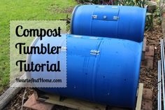 How to make a compost tumbler from a water barrel.