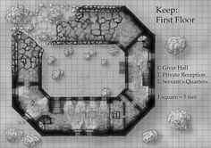 Ruined Fantasy Castle Map - First Floor