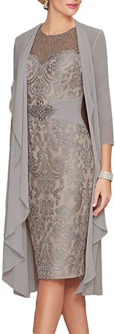 Newdeve Lace Mother of The Bride Dresses Rhinestone Belt with Chiffon Jacket Sliver Gray Mother Of Bride Outfits, Mother Of Groom Dresses, Mothers Dresses, Mother Of The Bride, Bride Dresses, Wedding Dresses, Chiffon Jacket, Chiffon Dress, Lace Dress