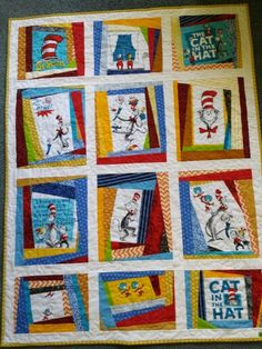 Free pattern for Cat in the Hat quilt. Love the border of red and ... : cat in the hat quilt kit - Adamdwight.com