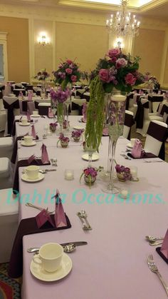 avenger and Aubergine wedding decor and floral arrangements by Dahlia Occasions.