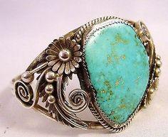 Vintage Navajo D K Lister Turquoise & Ornate Sterling Silver Cuff Bracelet 35.7g
