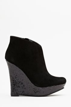 Glitter Wedge Boot - Black  Yet another addition to the 'if I could wear heels this high' category. Alas. First affordable thing I've seen on nastygal -only twenty dollars!