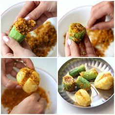 Bharwa Karela with Besan stuffed karela potato sabji recipe - authentic bharwa karela sabji prepared in onion tomato punjabi gravy. step by step recipe. Pakora Recipes, Curry Recipes, Rice Recipes, New Recipes, Vegetarian Recipes, Cooking Recipes, Potato Sabji, Appetizer Recipes