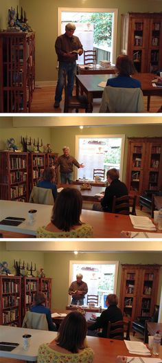 """[Throwback Thursday] @tpersun leads a workshop called """"Mastering Voice in Fiction"""" at the PNWA Cottage October 2013."""