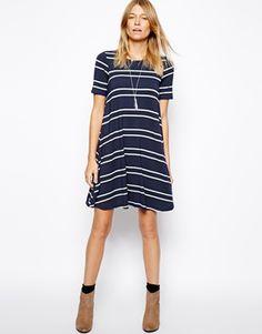 Image 4 ofASOS PETITE Swing Dress in Stripe