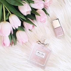 Pink, Feminine, Perfume, Nail Polish, Tulips, Fur Banckground, Flat Lay