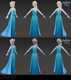 Elsa - Low poly model for Frozen Free Fall by Shaka-zl on DeviantArt Frozen Dress, Elsa Dress, Elsa Frozen, Maya Character Modeling, Character Model Sheet, 3d Character, Frozen Free Fall, Super Mario, Anna Costume