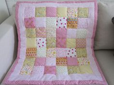 Patchwork   Baby cot quilt comforter vintage by AnneLiseQuilts