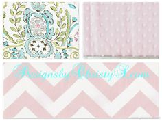 Love Bird Damask and Light Pink Chevron Crib by DesignsbyChristyS, $145.00