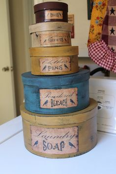 Hey, I found this really awesome Etsy listing at https://www.etsy.com/listing/165018775/primitive-laundry-room-stack-boxes