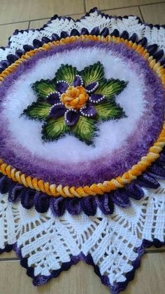 Puff Flowers Crochet Design You Will Love - Free Crochet Doily Patterns, Crochet Doilies, Crochet Flowers, Crochet Stitches, Round Shag Rug, Acrylic Painting Inspiration, Border Embroidery Designs, Crochet Ornaments, Crochet Baby Booties
