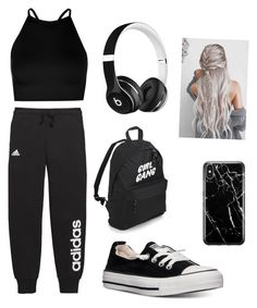 """Black."" by madison06walstrom on Polyvore featuring adidas, Boohoo, Converse, Beats by Dr. Dre and Recover"