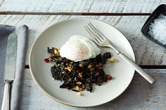Slow-Cooked Tuscan Kale with Pancetta, Bread Crumbs, and a Poached Egg Recipe on How To Cook Kale, What's For Breakfast, Dinner Dishes, Poached Eggs, Bread Crumbs, Food 52, Egg Recipes, Slow Cooker, Food And Drink