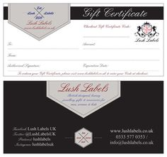 Gift Certificates from Lush Labels   Lush Labels British designed jewellery, accessories & gifts