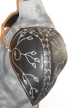 Womans Black Leather Shoulder Fantasy Armor Pauldrens LARP SCA | eBay