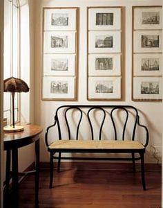 Michael Thonet settee - nice grouping of art