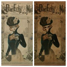 "Macabre parody side by side of ""Le Petit Echo de la Mode"", the first magazine for women (1880)"