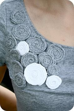 tight rosettes, take long sleeve shirt, cut sleeves, make flowers with sleeves