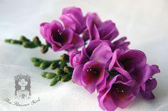 Ветка фрезии - фрезии,цветы ручной работы,веточки фрезии,цветы для причёски