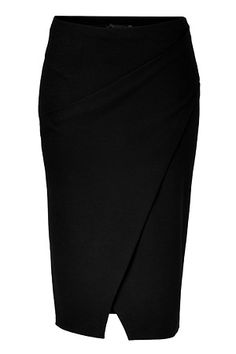 DONNA KARAN  Black Double Knit Stretch Wool Wrapped Pencil Skirt      	An exquisite choice for business to cocktails looks, Donna Karan's stretch wool pencil skirt cuts a flattering feminine figure no matter how you wear it  	Wrapped front with slit, elasticized waistline, contoured seaming, pulls on  	Form-fitting  	Team with feminine tops and standout statement accessories   	Material: 96%Wool 4%Elastane  £ 658