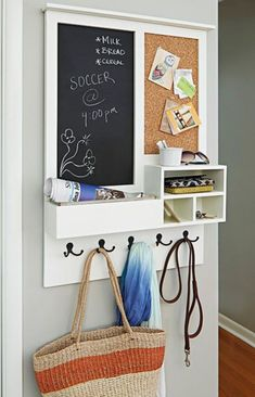 Keep your family organized with this entry message center. This clever project acts as a mail drop key holder and versatile message center that includes a chalkboard and cork board. Customize to suit your needs by adding two chalkboards or corkboards r Wand Organizer, Family Organizer, Mail Organizer Wall, Household Organization, Home Organization, Baby Dekor, Diy Casa, Diy Chalkboard, Kitchen Chalkboard