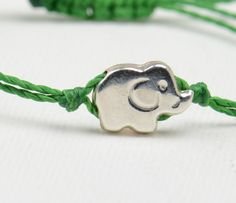 Elephant  sterling silver charm  bracelet by zzaval on Etsy, $11.50
