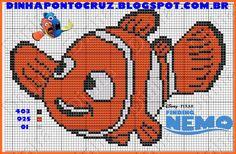 Dinha Ponto Cruz: Procurando Nemo e Dory gráfico e monograma em ponto cruz