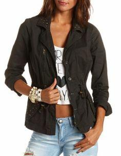 studded anorak jacket $39.99 Stylish Outfits, Fall Outfits, Summer Outfits, Fashion Outfits, Stylish Clothes, Anorak Jacket, Cuff Sleeves, Everyday Fashion, Charlotte Russe