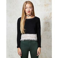 Hearts and Bows Zager Lace Hem Knit - A unique streetstyle store stocking own labels Hearts & Bows + CLOAK plus Fred Perry, Carhartt, ASA, Motel and more #black #knitted #croptop