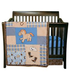 Trend Lab Cowboy Baby 6 Piece Crib Bedding Set - Blue/Brown