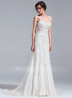 [US$ 389.99] Trumpet/Mermaid V-neck Court Train Tulle Wedding Dress With Beading Appliques Lace Sequins