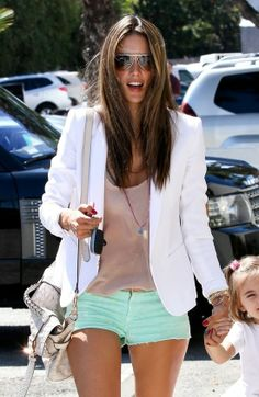 white blazer, nude tank, and mint jean shorts
