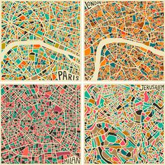 Jazzberry Blue : Abstract maps of big cities... Love it!