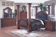 canopy bed bedrooms | Cherry Finish Canopy Bedroom Set With Leather Upholstery