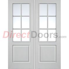 Downham white primed door pair with bevelled clear safety glass image of jbk faro white primed door pair with clear safety glass planetlyrics Gallery