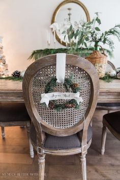French Christmas Dining Room/ wreaths with banners - So Much Better With Age