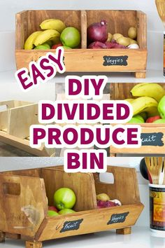 Easy DIY Vegetable storage Bin with divider. It is a perfect beginner woodworking project or a great way to use up the scraps and organize the kitchen. #beginnerwoodworking #kitchenstoragediy…