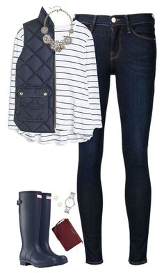 """""""Navy stripes, vest & hunter boots"""" by steffiestaffie ❤ liked on Polyvore featuring Frame Denim, MANGO, J.Crew, Hunter, Accessorize, Marc by Marc Jacobs and MICHAEL Michael Kors"""