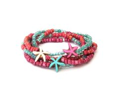 Starfish Stretch Stack Bracelet with Glass by SassyBelleWares, $28.00