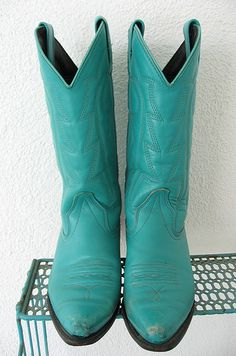 Turquoise Cowgirl Boots, JoulesVintage, archives, aqua, vintage, #cowgirl #cowboy boots, leather, blue, turquoise
